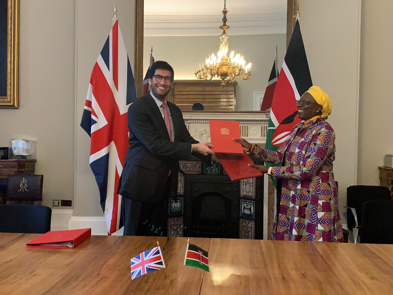 Kenya's Cabinet Secretary for Industry, Trade and Enterprises Betty Maina (Right) and UK International Trade Minister Ranil Jayawardena ink partnership deal.
